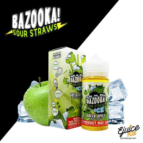 Green Apple Sour Straws Iced E-Juice by Bazooka