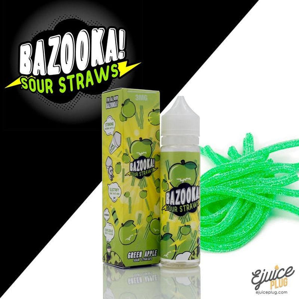 Bazooka Sour Straws,- Bazooka Green Apple Sour Straws Ejuice 60ml - E-Juice Plug