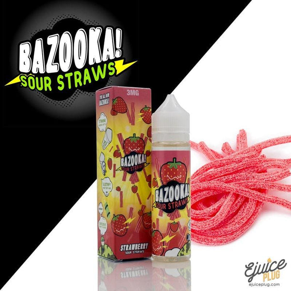 Bazooka Sour Straws,- Bazooka Strawberry Sour Straws Ejuice 60ml - E-Juice Plug
