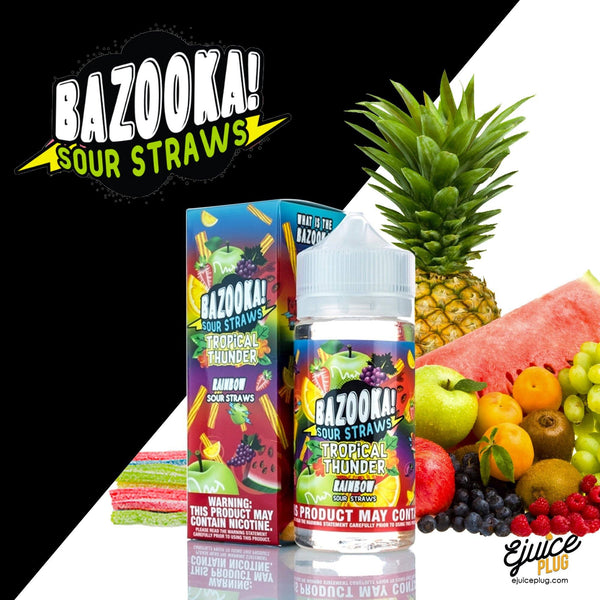 Tropical Thunder Rainbow Sour Straws E-Juice 100ml by Bazooka
