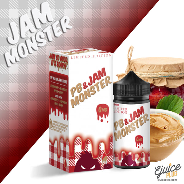 Jam Monster Eliquid,- PB & Jam Strawberry 100ml by Jam Monster Eliquids - E-Juice Plug