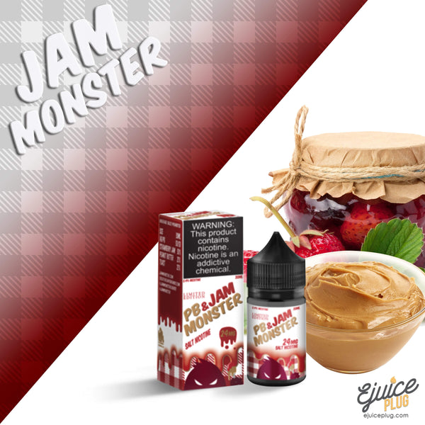 Jam Monster Eliquid,- PB & Jam Strawberry Salts 30ml by Jam Monster Eliquids - E-Juice Plug