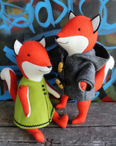 Ginger and Blue Foxes Pattern
