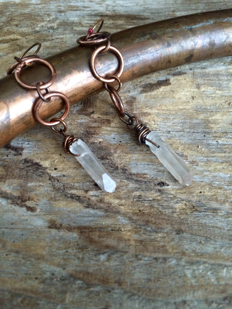 Raw Lemurian Quartz Earrings