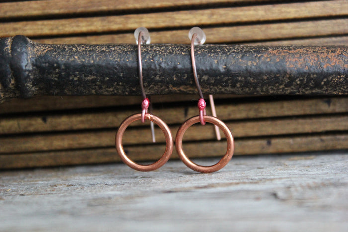 MINIMALISTIC COPPER RING EARRINGS
