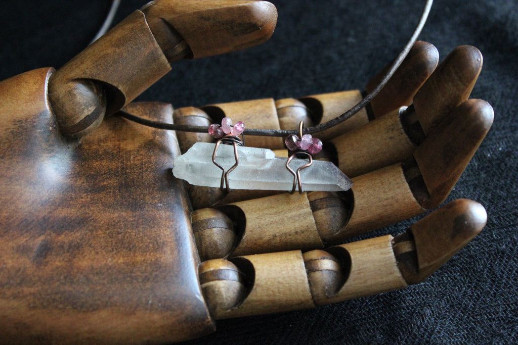 TwinSoul Mica Quartz~Pink Tourmaline Necklace