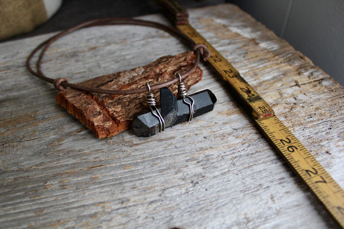 Raw, natural black tibetan quartz necklace