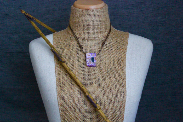 Natural cut polished charoite necklace