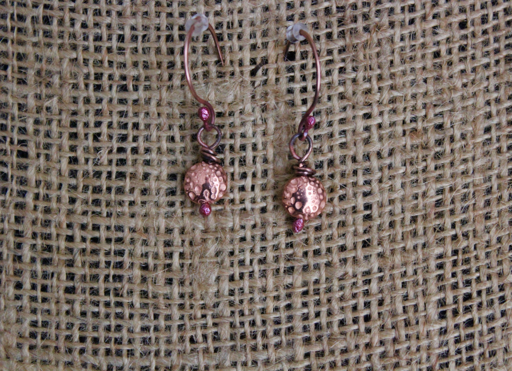 Petite Copper Bead Earrings