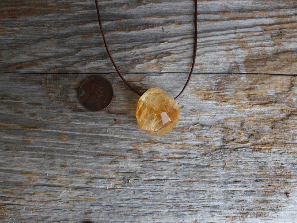 Natural Citrine Crystal Necklace