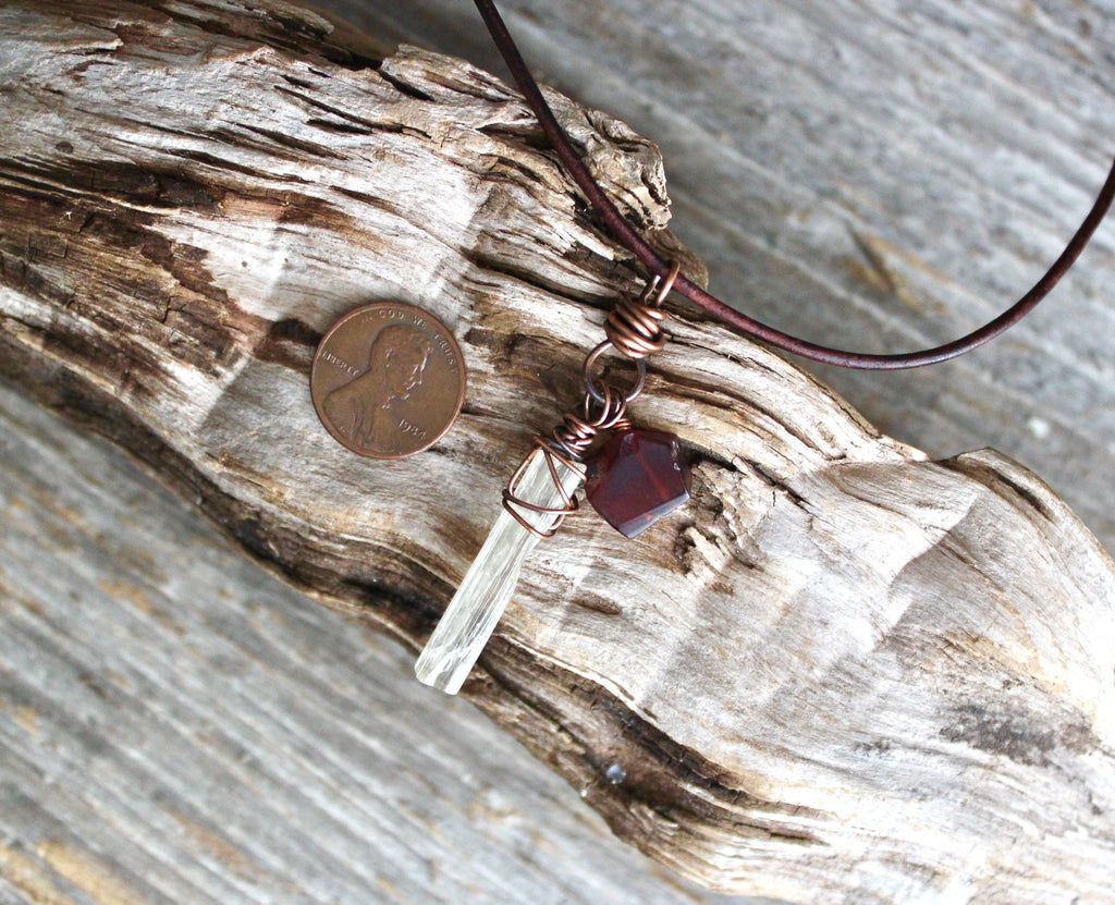Natural Garnet/Raw Scapolite Necklace