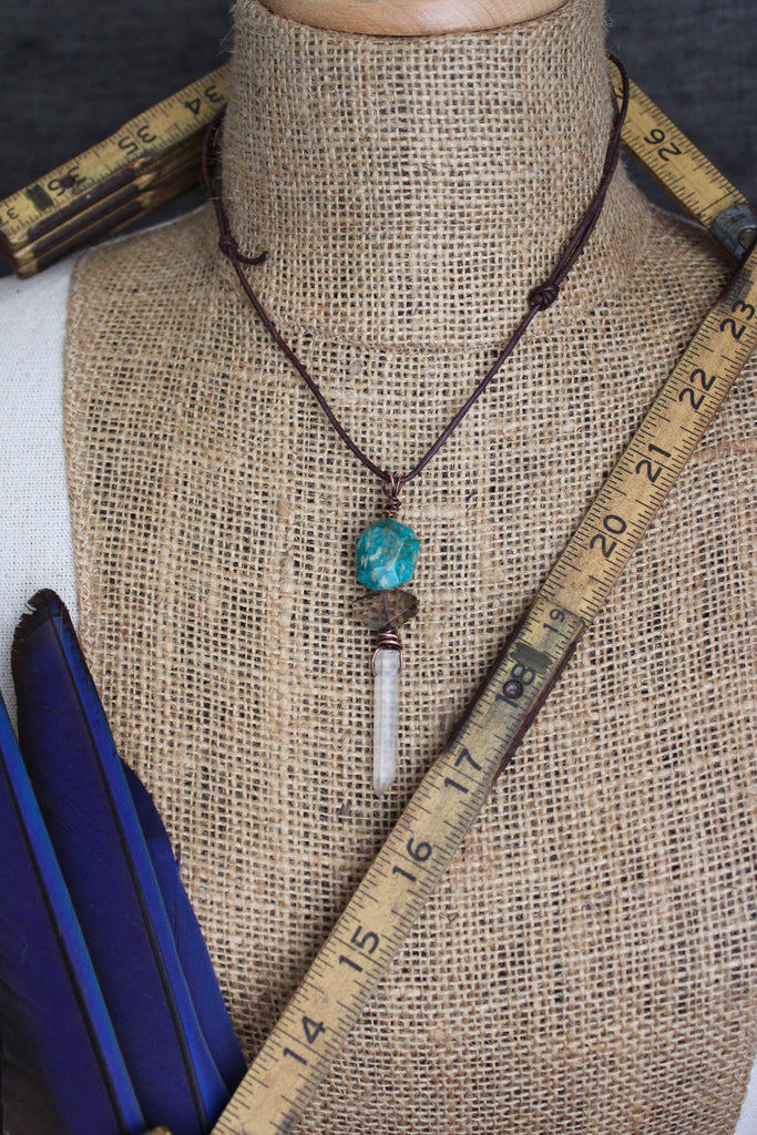 Natural Amazonite/Smoky Quartz/Lemurian Crystal Necklace