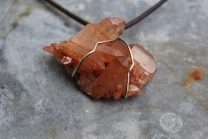 Fire Quartz Cluster Necklace