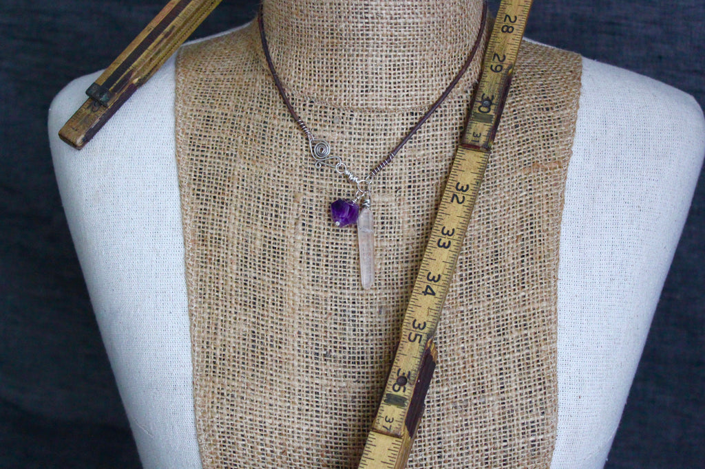 Lemurian Quartz Amethyst Necklace
