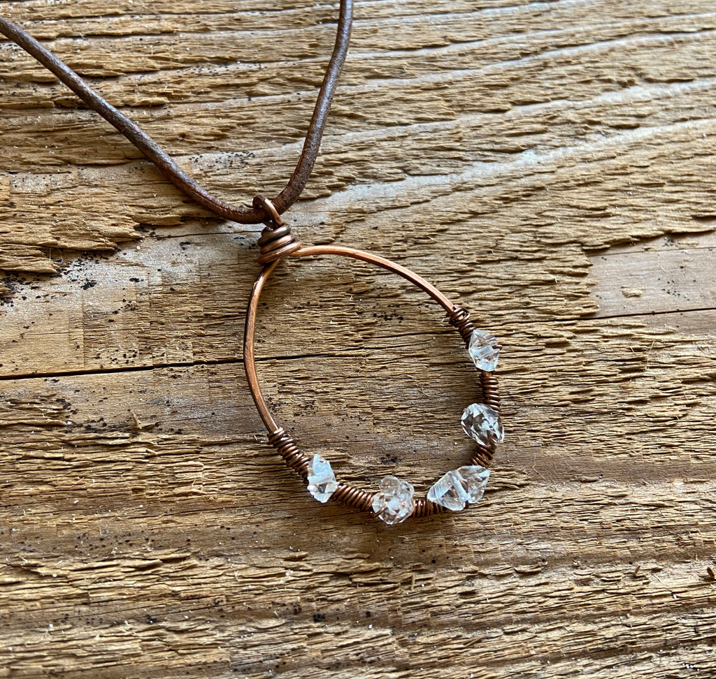 HERKIMER DIAMONDS ON COPPER CIRCLE