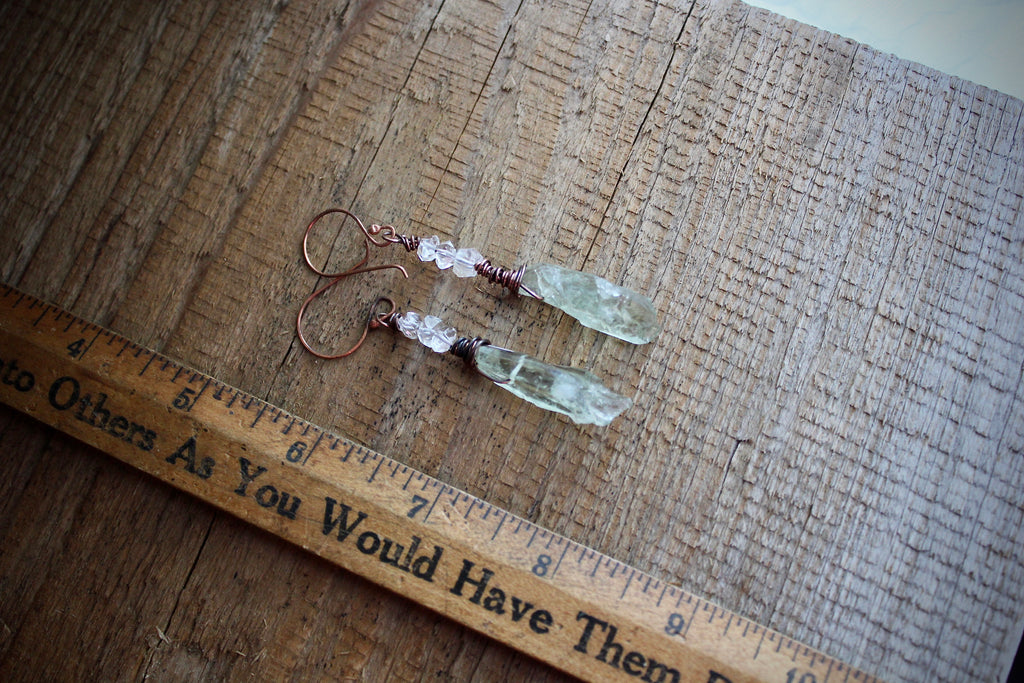GREEN AMETHYST/HERKIMER DIAMONDS EARRINGS