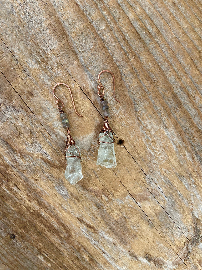 GREEN AMETHYST/LABRADORITE EARRINGS