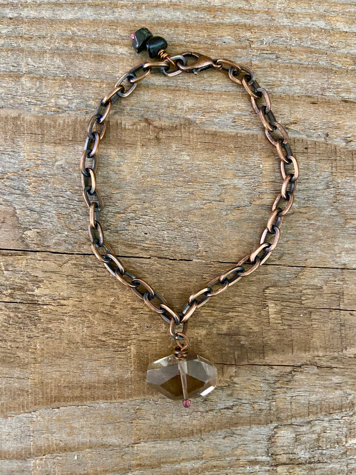 SMOKEY QUARTZ COPPER LINK BRACELET
