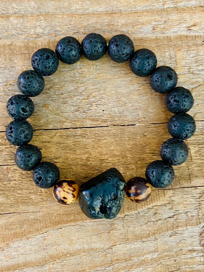 LAVA ROCK ~ BLACK TOURMALINE BRACELET