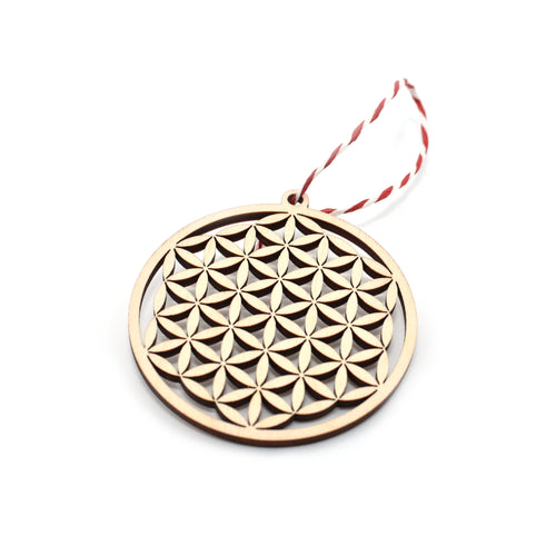 Christmas tree decoration - Flower of life - Woodnectar.com (woodnectar, wood, wooden box, cookie stamp, engraving)
