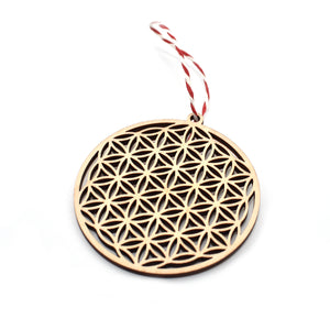 Christmas tree decoration - Flower - Woodnectar.com (woodnectar, wood, wooden box, cookie stamp, engraving)