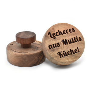 Cookie stamp - Leckeres aus Muttis Kuche! (premium) - Woodnectar.com (woodnectar, wood, wooden box, cookie stamp, engraving)