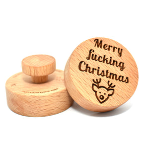 Cookie stamp - Merry fucking Christmas! - Woodnectar.com (woodnectar, wood, wooden box, cookie stamp, engraving)