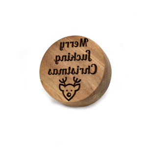 Cookie stamp - Merry fucking Christmas! (premium) - Woodnectar.com (woodnectar, wood, wooden box, cookie stamp, engraving)