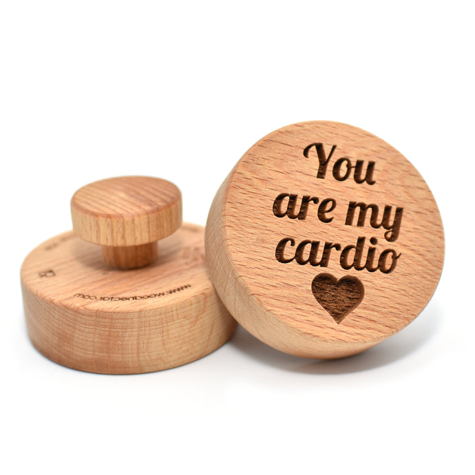 Cookie stamp - You are my cardio - Woodnectar.com (woodnectar, wood, wooden box, cookie stamp, engraving)