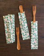 Olive wood SPORK and SPIFE, Green Leaves GOTS Organic Cotton Bag