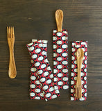 Olive wood SPORK and SPIFE, Red Penguins GOTS Organic Cotton Bag
