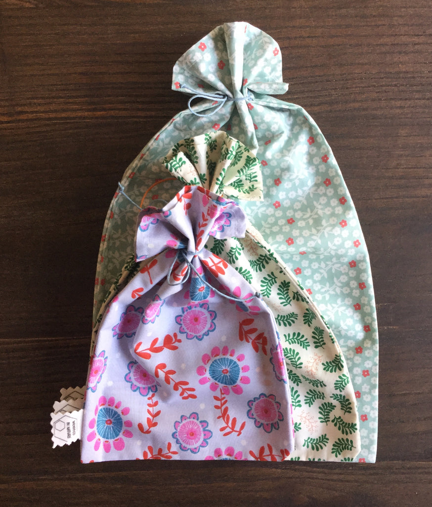 Produce Bags, Vintage GOTS Organic Cotton Fabric, Blue/Green/Red