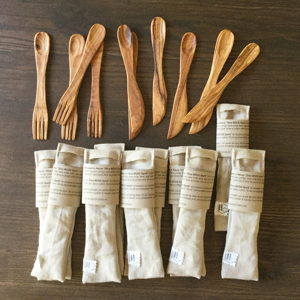 Olive wood SPORK and SPIFE, Neutral color Organic Hemp Fabric Bag