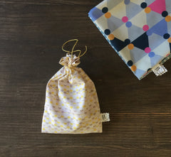 Produce Bags, Vintage GOTS Organic Cotton, Blue/Yellow/Orange