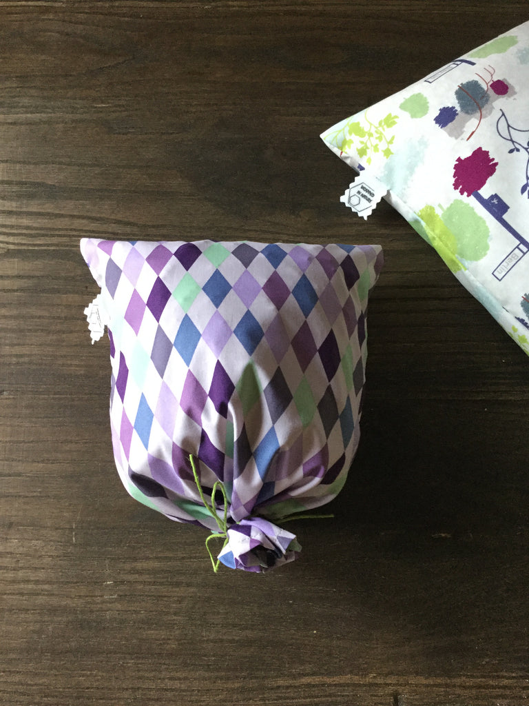 Produce Bags, Vintage GOTS Organic Cotton Fabric, green/purple
