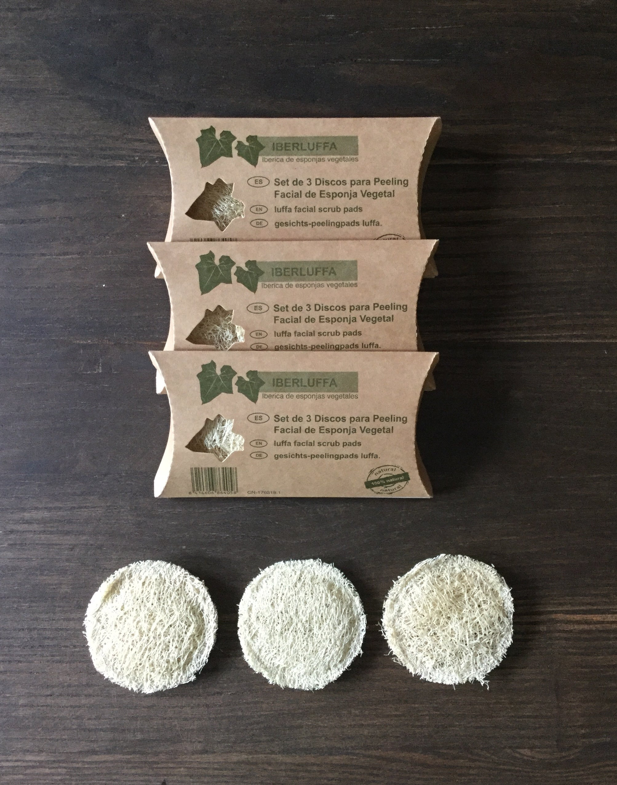 Luffa Facial Scrub Pads, set of 3