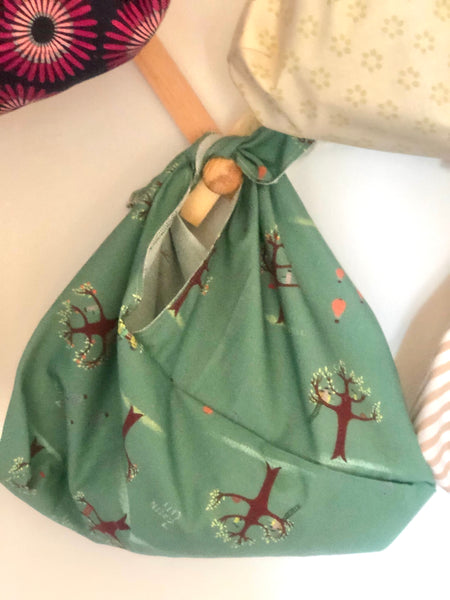 Bento Bag; Green with purple trees