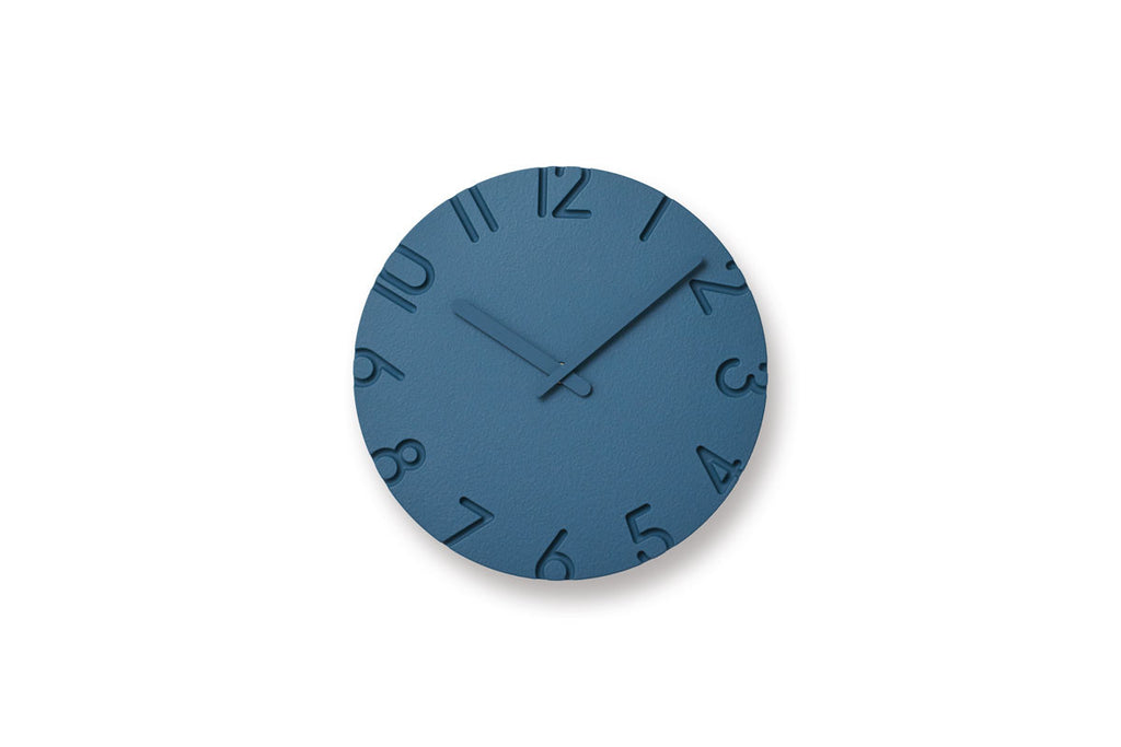 Lemnos Carved Colored Wall Clock Blue | Wall Clocks Online | Bibliotek