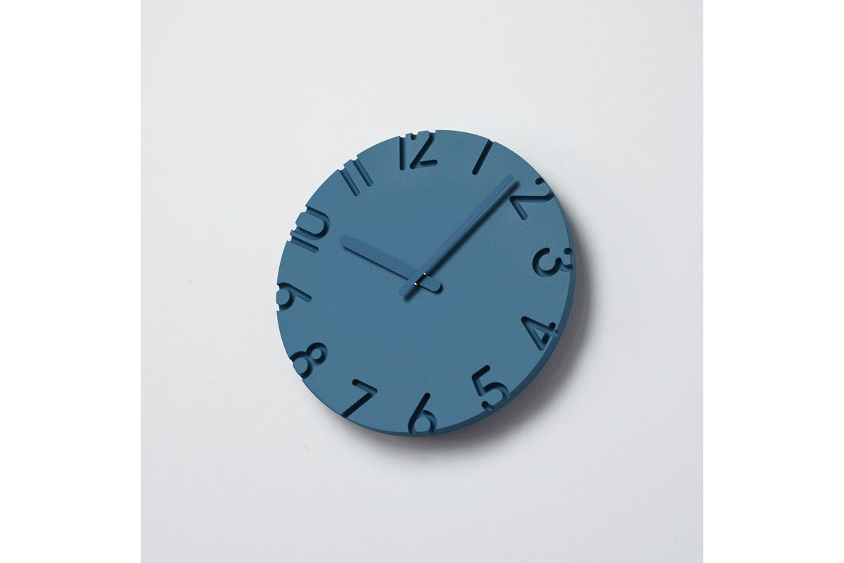 Lemnos carved colored wall clock blue clocks online