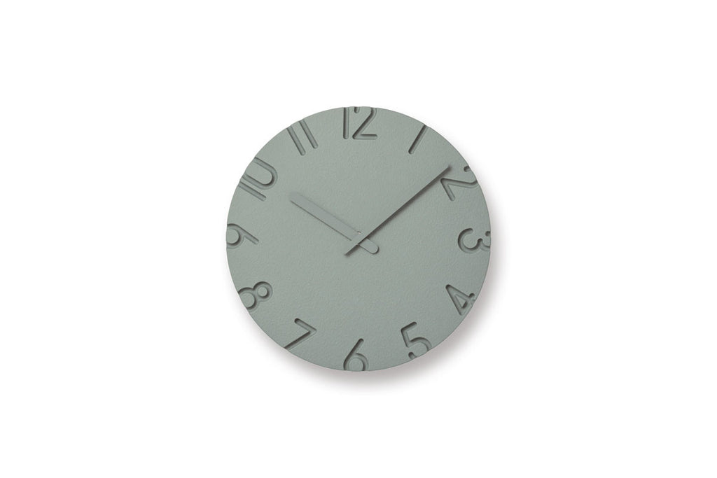 Lemnos Carved Colored Wall Clock Grey | Wall Clocks Online | Bibliotek