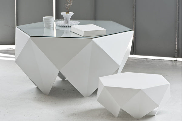 Monolith: Lounge Side Table, White, Melvin Ong, Bibliotek Design Store