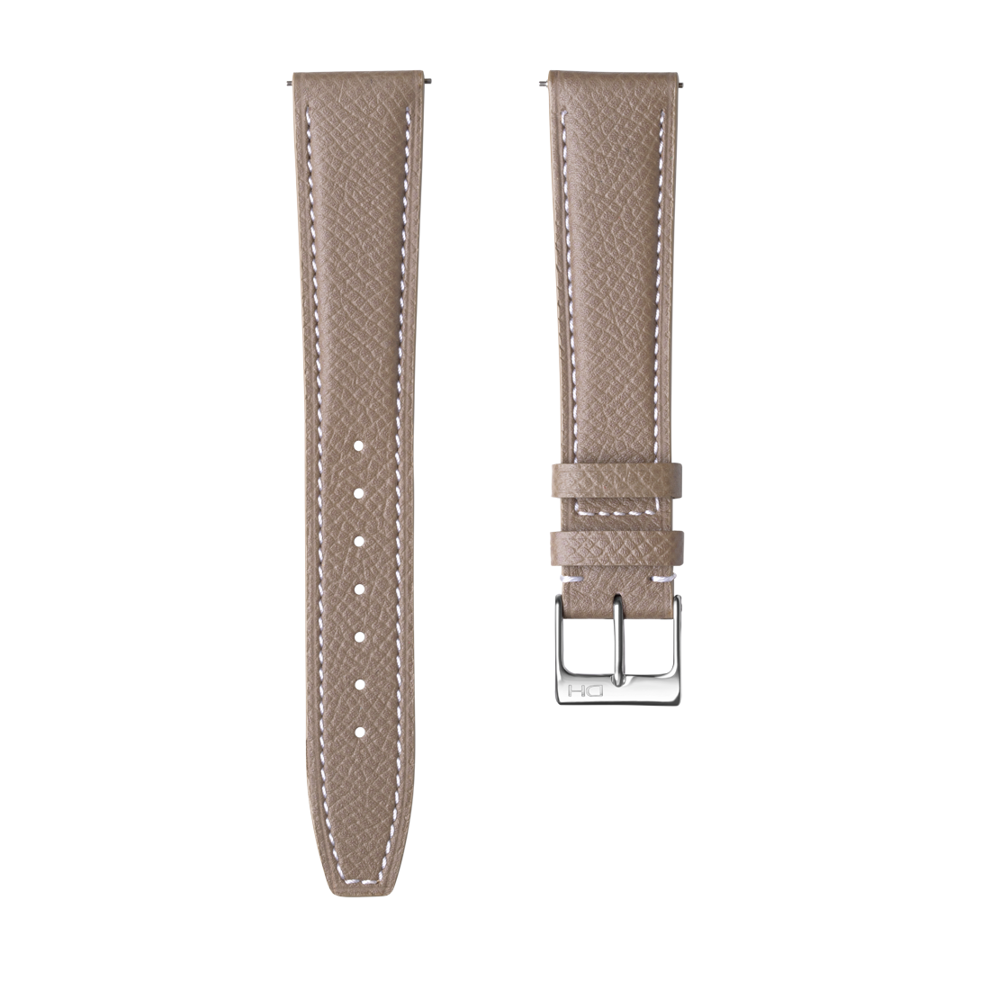 <h3>Leather Strap</h3> 1964 light grey leather strap white stitch<br><span>Easy Release Strap</span>