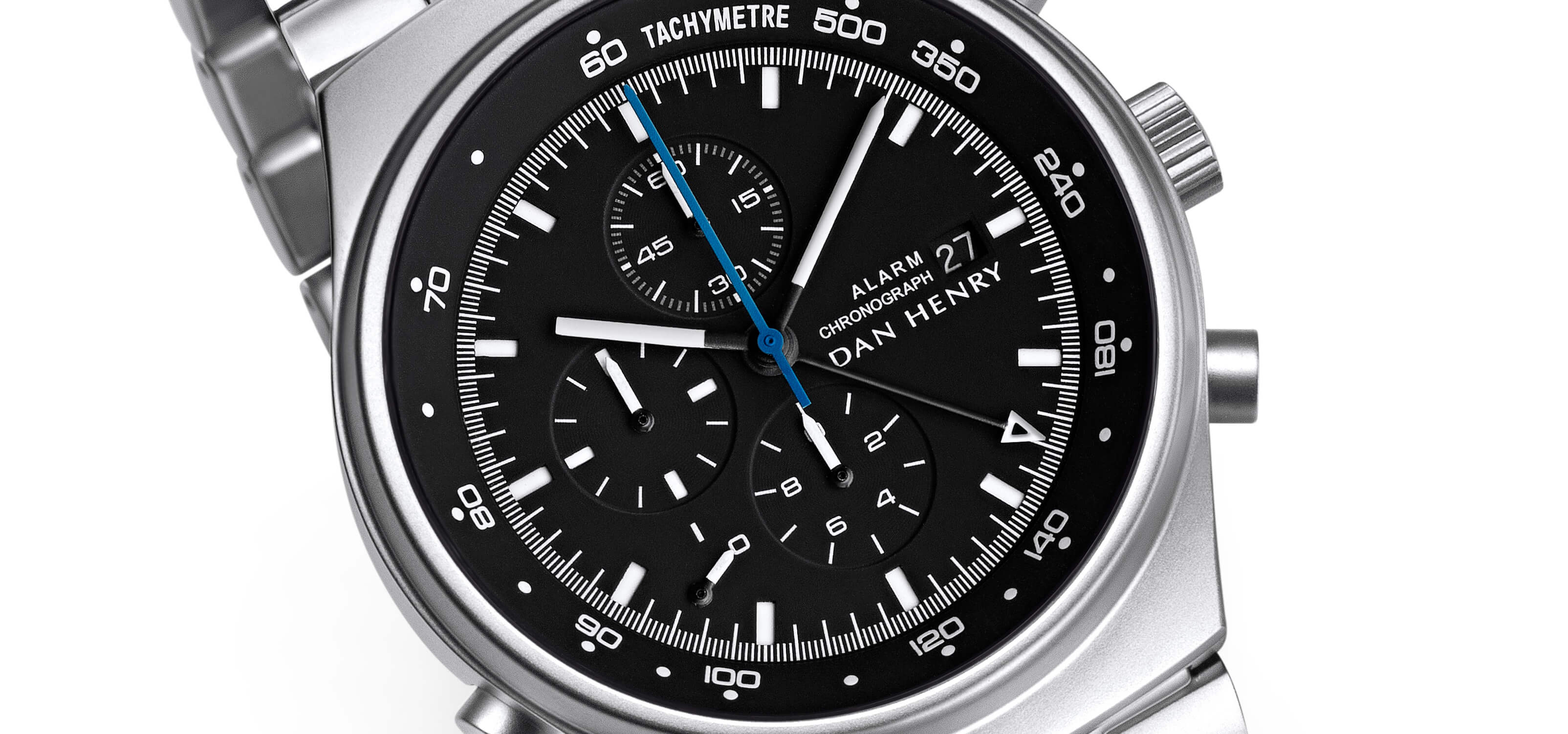 <h3>Dial</h3><p> Matte stainless steel sandwich dial with eight hands, date, tachymeter and 12-hour chronograph </p>