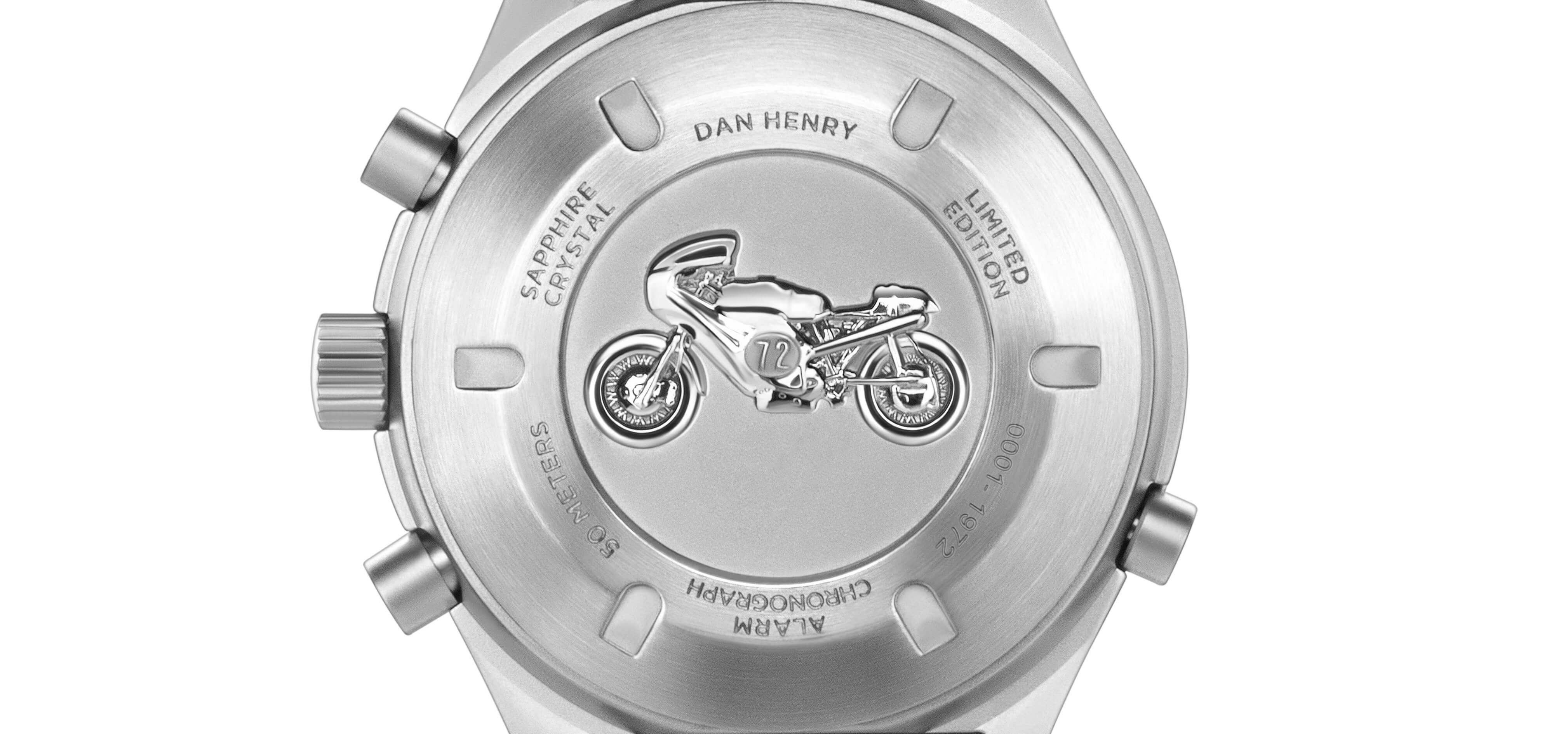 <h3> CASEBACK </h3><p> Screw-back case with Ducati 750 Imola Desmo 3D medal, 1972 individually numbered limited edition </p>