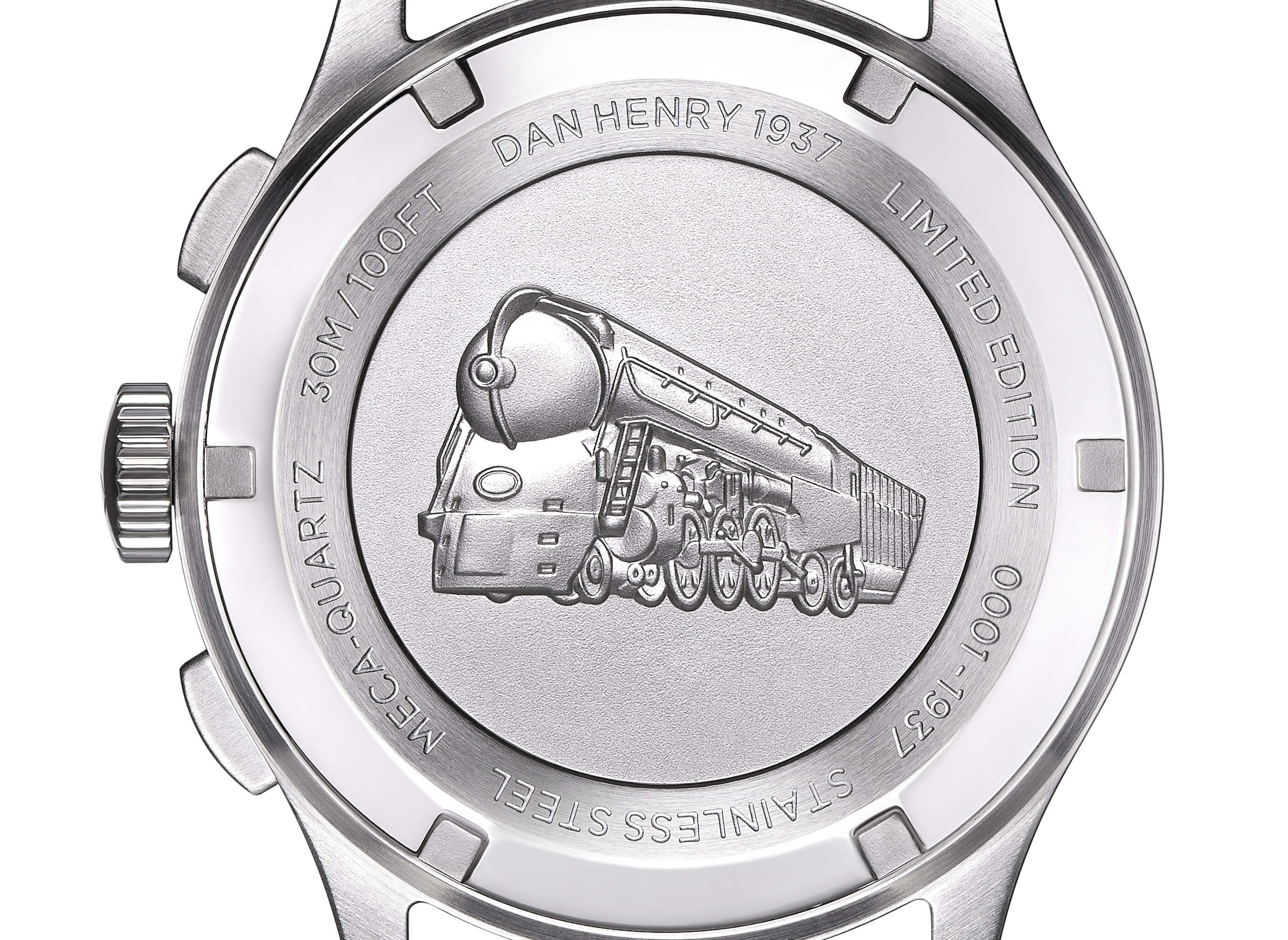 <h3>Caseback</h3><p> Screw-back case embossed with the NYC-Hudson Streamliner </p>