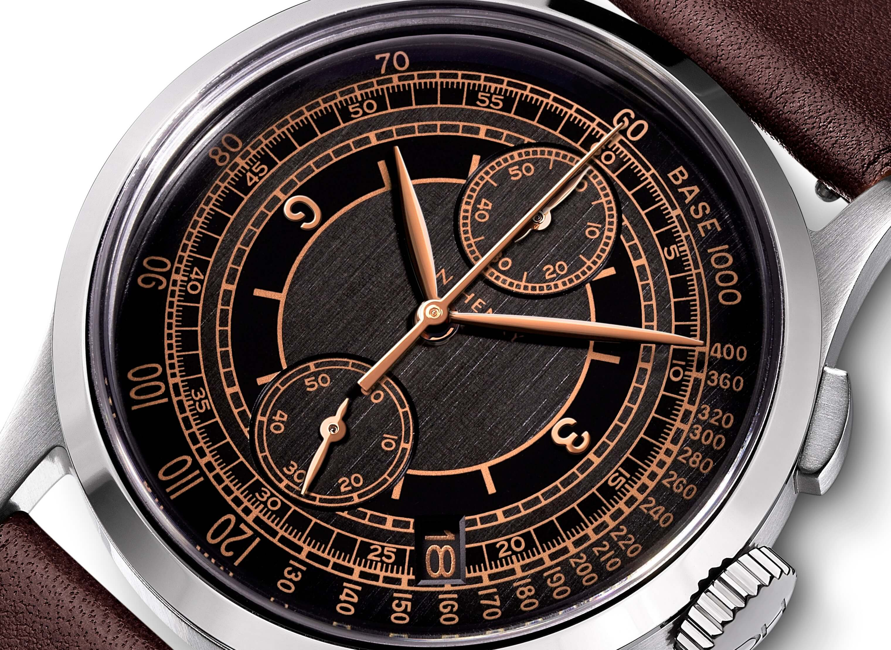 <h3>Dial</h3><p>Black sector dial with Tachymeter, rose gold applied numbers, Leaf-shaped hands, and date window </p>