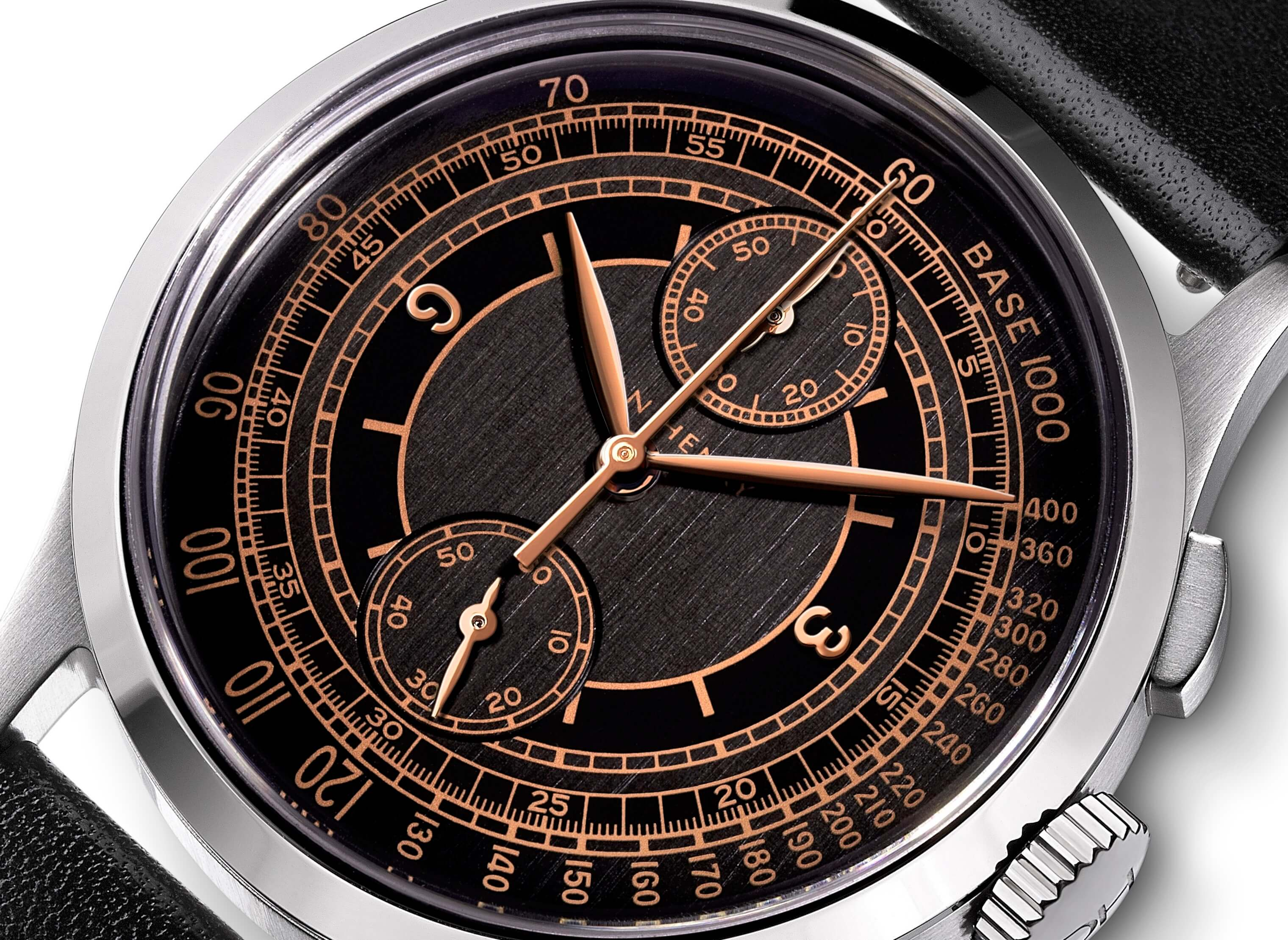 <h3>Dial</h3><p>Black sector dial with Tachymeter, rose gold applied numbers, and Leaf-shaped hands </p>