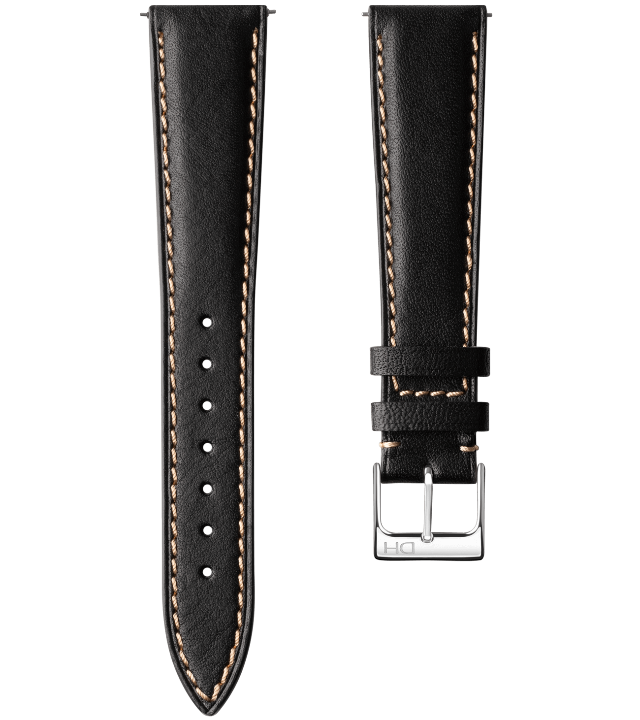 <h3>Leather Strap</h3> 1962 black with beige stitch leather strap<br><span>Easy Release Strap</span>
