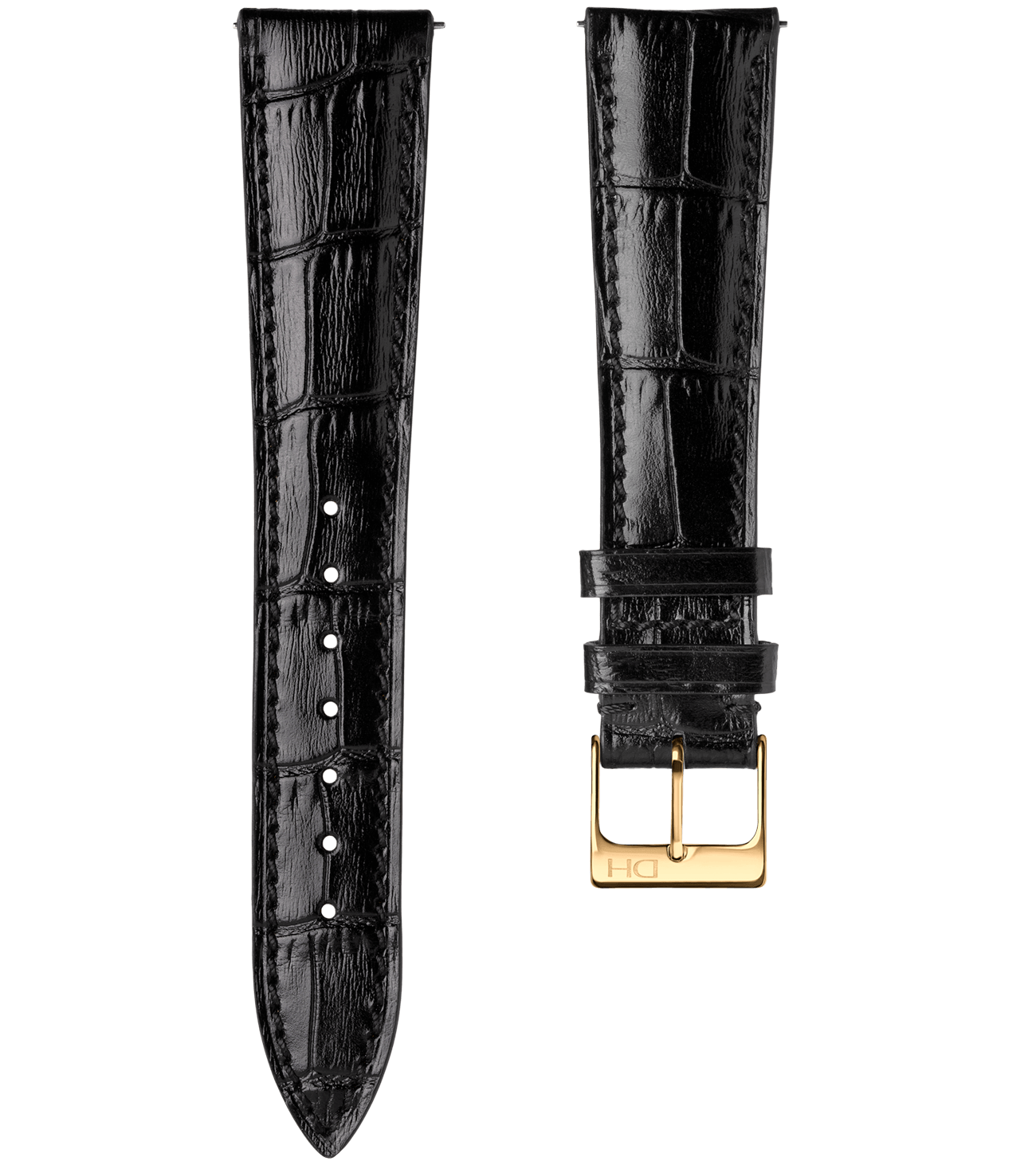 <h3>Leather Strap</h3> 1962 croco black leather strap with golden buckle<br><span>Easy Release Strap</span>
