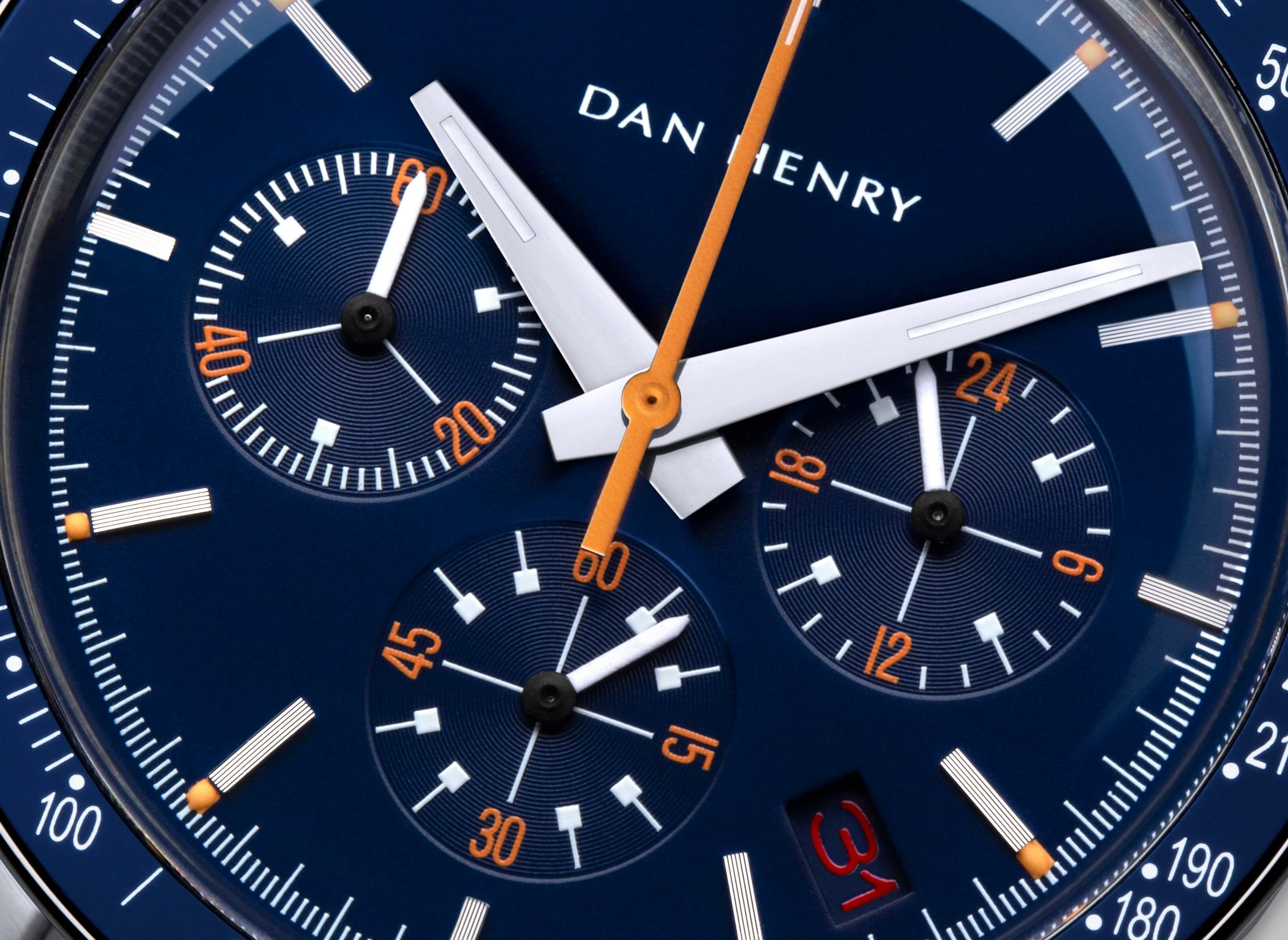 <h3>Dial</h3><p>Matte blue with date, orange chrono central hand and numbers. Dauphine hands made to the best legibility </p>